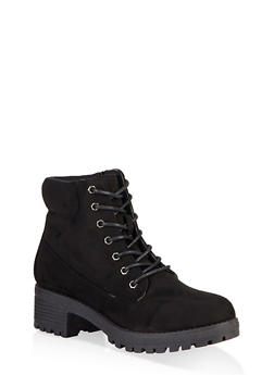 Lace Up Work Boots - BLACK SUEDE - 1116073541042