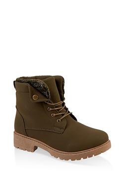 Knit Cuff Detail Work Boots - 1116073541049