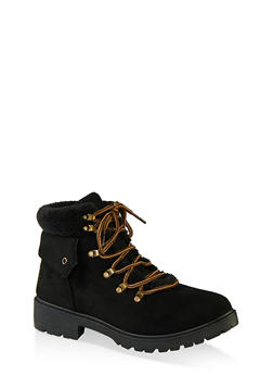 Lace Up Sherpa Cuff Hiking Boots - BLACK SUEDE - 1116073541056