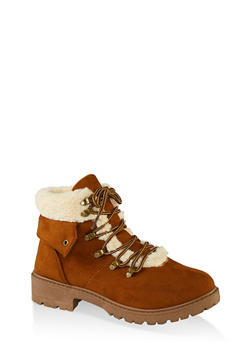 Lace Up Sherpa Cuff Hiking Boots - TAN S - 1116073541056