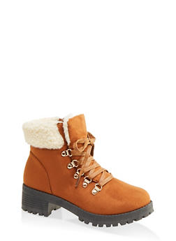 Sherpa Cuff Lug Sole Booties - CHESTNUT - 1116073541058