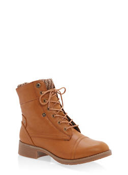 Sweater Cuff Lace Up Boots - COGNAC - 1116073542003