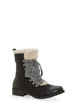 Sherpa Lined Faux Suede Lace Up Booties - BLACK/BEIGE - 1116073542529