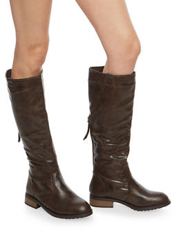 Tall Back Zip Riding Boots - BROWN - 1116073542628