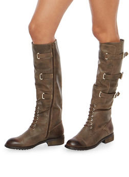 Tall Lace Up Riding Boots with Buckle Detail - BROWN - 1116073545673