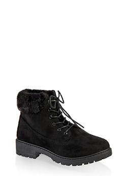 Faux Fur Trim Work Boots - 1116073545820