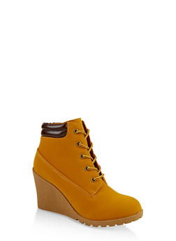 Lace Up Wedge Booties - 1116073545821