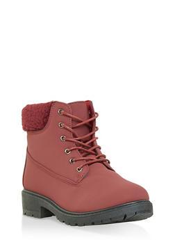 Sherpa Cuff Work Boots - WINE - 1116073547234