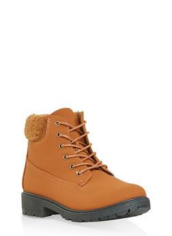 Sherpa Cuff Work Boots - CHESTNUT - 1116073547234