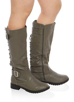 Faux Leather Lace Up Back Tall Boots - 1116073548055