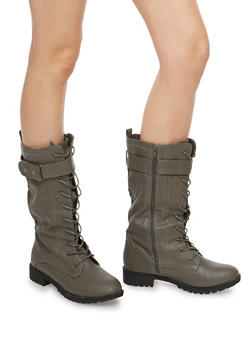 Lace Up Velcro Boots - GRAY - 1116073548068