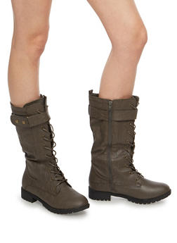 Lace Up Velcro Boots - TAUPE - 1116073548068
