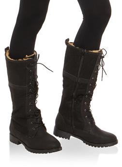 Faux Fur Lined Tall Lace Up Combat Boots - 1116073548148