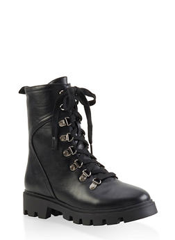 Lace Up Hiking Boots - BLACK - 1116074703567