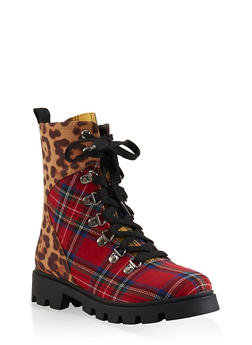 Lace Up Hiking Boots - LEOPARD PRINT - 1116074703567
