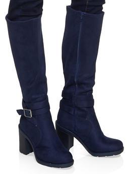 Buckle Detail High Heel Boots - 1116074706632