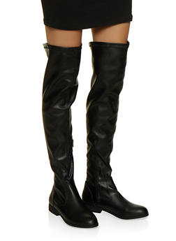 Side Zip Over the Knee Boots - BLACK - 1116074707322