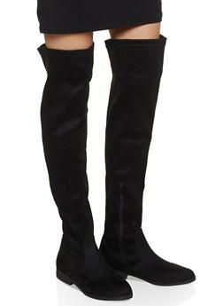 Side Zip Over the Knee Boots - BLACK SUEDE - 1116074707322