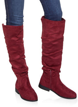 Tall Slouchy Riding Boots - WINE - 1116074707475