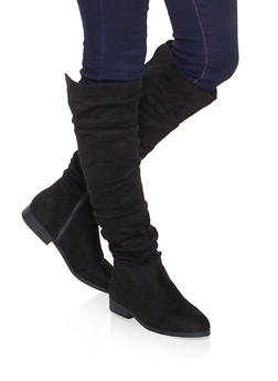 Tall Slouchy Riding Boots - BLACK SUEDE - 1116074707475