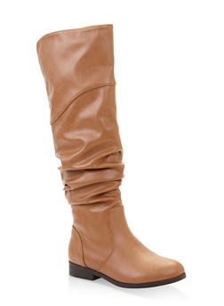 Tall Slouchy Riding Boots - CHESTNUT - 1116074707475