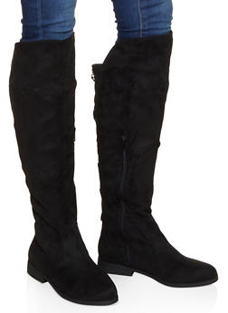 Tall Lace Up Back Boots - BLACK SUEDE - 1116074707678