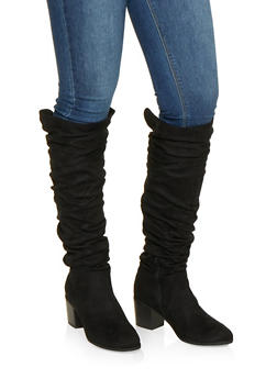 Ruched Tall Boots - BLACK SUEDE - 1116074708727