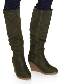 Tall Ruched Wedge Boots - 1116075809363