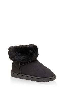 Faux Fur Collar Booties - BLACK - 1116076080012