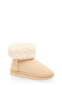 Faux Fur Collar Booties - BEIGE - 1116076080012