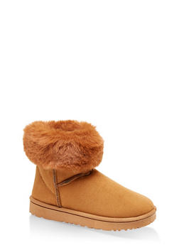 Faux Fur Collar Booties - CAMEL - 1116076080012
