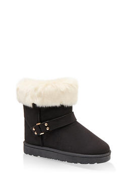 Faux Fur Cuff Buckled Booties - BLACK - 1116076081003