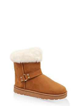 Faux Fur Cuff Buckled Booties - 1116076081003