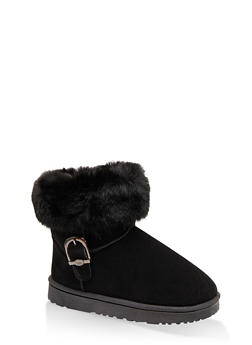Buckle Detail Sherpa Lined Boots - BLACK - 1116076081009