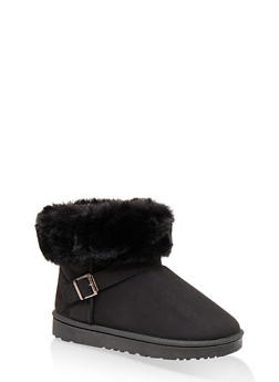 Faux Fur Cuff Buckle Detail Booties - BLACK - 1116076081200