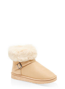 Faux Fur Cuff Buckle Detail Booties - BEIGE - 1116076081200