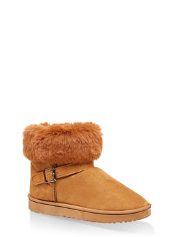 Faux Fur Cuff Buckle Detail Booties - CAMEL - 1116076081200