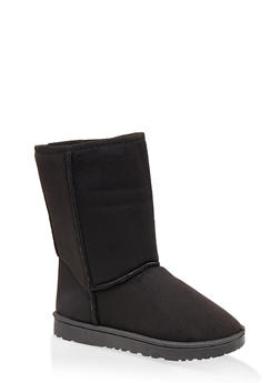 Faux Fur Lined Mid Calf Booties - BLACK - 1116076081221