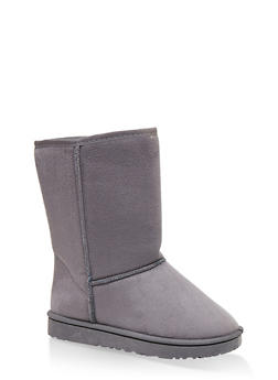 Faux Fur Lined Mid Calf Booties - GRAY - 1116076081221