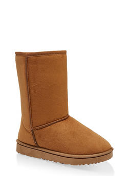 Faux Fur Lined Mid Calf Booties - CAMEL - 1116076081221
