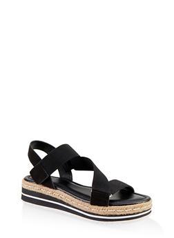 Asymmetrical Velcro Strap Platform Sandals - BLACK SUEDE - 1117004063438