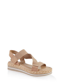 Asymmetrical Velcro Strap Platform Sandals - TAUPE - 1117004063438