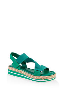 Asymmetrical Velcro Strap Platform Sandals - GREEN S - 1117004063438