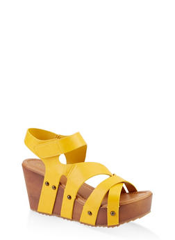 Asymmetrical Band Wooden Wedge Sandals - 1117004064674