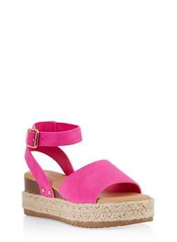 Platform Espadrille Sandals - NEON PINK - 1117004065324
