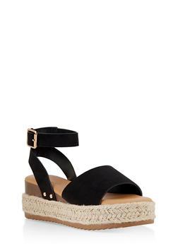 Platform Espadrille Sandals - BLACK SUEDE - 1117004065324