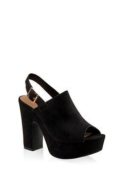 High Heel Platform Sandals - BLACK SUEDE - 1117004066260