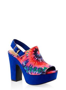 High Heel Platform Sandals - BLUE MULTI - 1117004066260