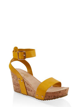 Ankle Strap Cork Wedge Sandals - 1117004067846