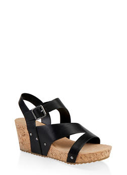 Asymmetrical Band Cork Wedge Sandals - 1117004067858